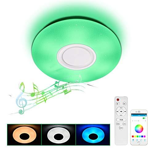 Preisvergleich Produktbild 24W LED RGB Musik Deckenleuchte mit Bluetooth Lautsprecher / 40cm / Deckenlampe inkl. Fernbedienung / APP / Dimmbar / Farbwechsel