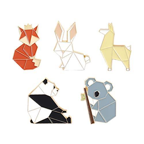 Holibanna 5Pcs Nette Emaille Revers Pin Set Cartoon Geometrische Origami Tier Brosche Pins Dekorative Fuchs Bär Panda Kaninchen Abzeichen Broschen für Kleidung Taschen Schmuck Zubehör
