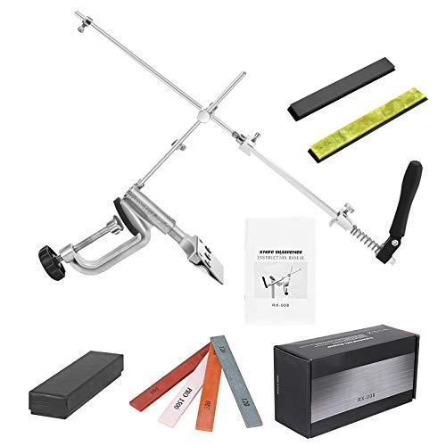 TOPQSC Professionelles manuelles Messerschärfer-Set, Edelstahl, 360° drehbar, Flip-Design, mit 6 Schleifsteinen, für die Küche, zum Schleifen von Präzisionsteilen, die gerne Hände benutzen