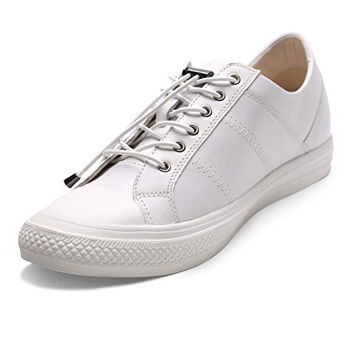CHAMARIPA Men's Invisible Height Increasing Elevator Shoes-Sneakers Genuine Leather Casual Shoes-1.97 Inches Taller H81C89K012D White