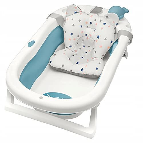 Primabobo My Toy klappbare Badewanne für Babys im Alter von 0-36 Monaten, Neugeborenenwanne mit rutschfesten Füßen, Ergonomischem Kissen und abnehmbarem Spielzeug, Einfach zu verstauen (blau)