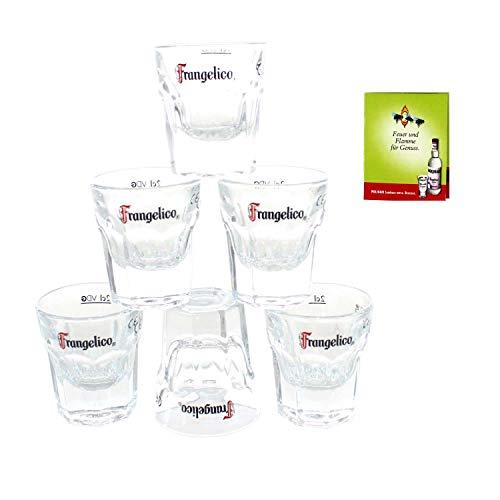 Frangelico Shot-Glas x 6 Gastro-geeicht 2 cl + Streichholz | Casablanca Glass 710805 5k2m+