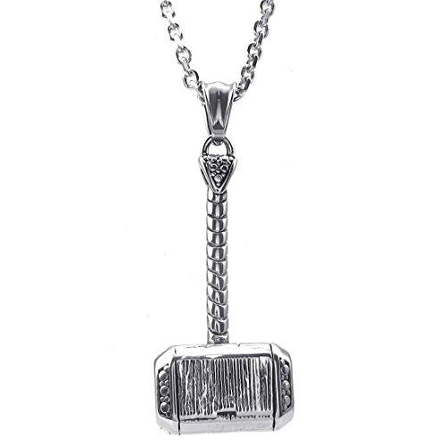 REFURBISHOUSE - Collar con colgante de acero inoxidable en forma de martillo de Thor con una cadena de 50 cm para hombres, collar de acero inoxidable con bolsa de franela – Plata