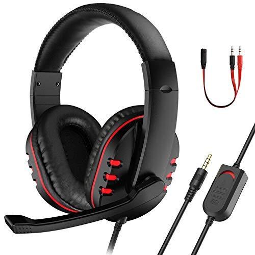 ETPARK Auriculares Gaming PS4 Xbox One, Auriculares Cascos Gaming de PC Estéreo con Micrófono Juego Gaming Headset 3,5 mm Cascos Gaming para PS4/ PC/Xbox One S/Nintendo Switch