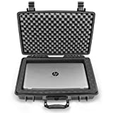 CASEMATIX Waterproof 15.6 inch Laptop Hard Case - Crushproof Laptop Protective Case Compatible with HP Pavillion 360, Envy x360, Stream 14, Chromebook 14, Spectre x360 15, Lenovo Flex 14 and Many More