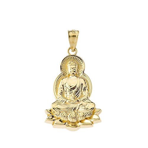 Fine 14k Yellow Gold Buddha on a Lotus Flower Pendant
