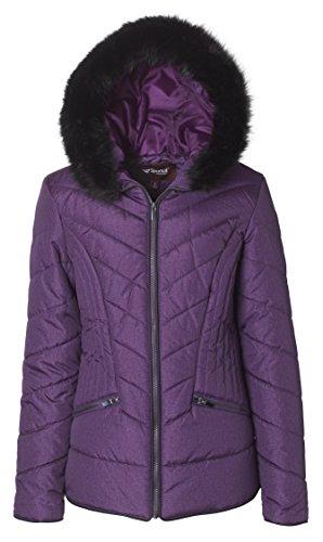 Sportoli Junior Women's Down Alternative Promo Puffer Jacket with Fur Trimmed Hood - Bramble Wine (Medium)