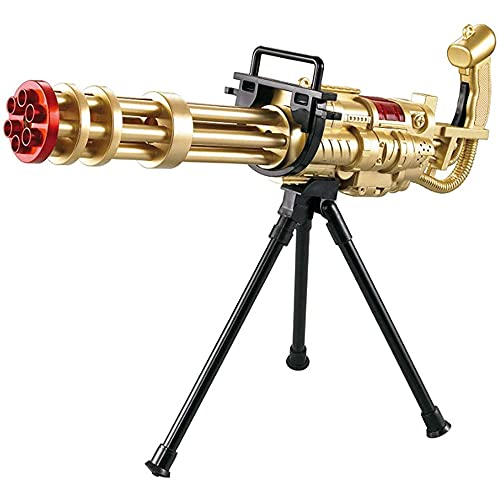LKJHG Gatling Toy Gun, Manual Auto Soft Bullet Toy Gun Configurar Trípode Táctico, Adecuado Para Regalos De Cumpleaños Para Niños, Juguetes Al Aire Libre/Oro