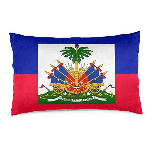 Lesif Fundas de cojín de terciopelo rectangulares fundas de almohada suaves decorativas para sofá, dormitorio, coche, 40,6 x 50,9 cm (bandera de Haití)