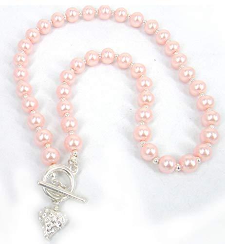 guodong Conjunto De Collar Y Pulsera De Perlas De Cristal Gris De Corazón Dulce A La Moda para Mujer, Joyería, Regalo del Día De La Madre