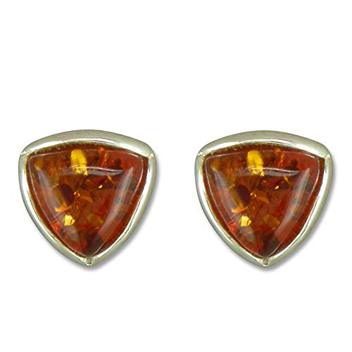 925 Sterling Silver Small Triangle Cognac Amber Earrings
