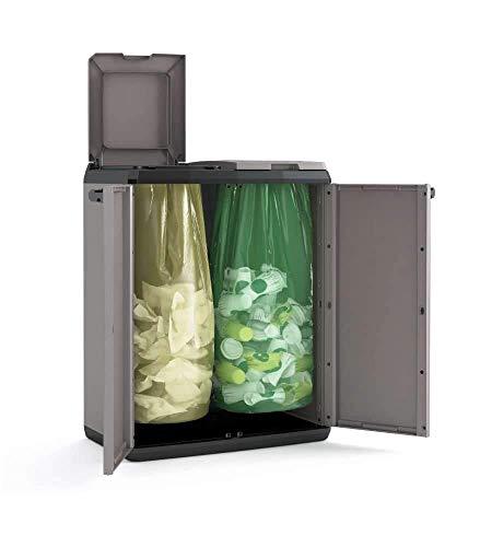 Keter Recyclingschrank, Kunststoff, Grau, Schwarz, 68 x 39 x 85