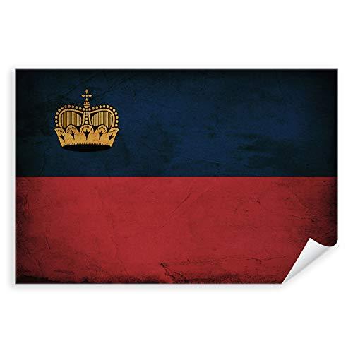 Postereck - 0327 - Vintage Flagge, Fahne Liechtenstein Vaduz - Unterricht Klassenzimmer Schule Wandposter Fotoposter Bilder Wandbild Wandbilder - Leinwand - 100,0 cm x 75,0 cm