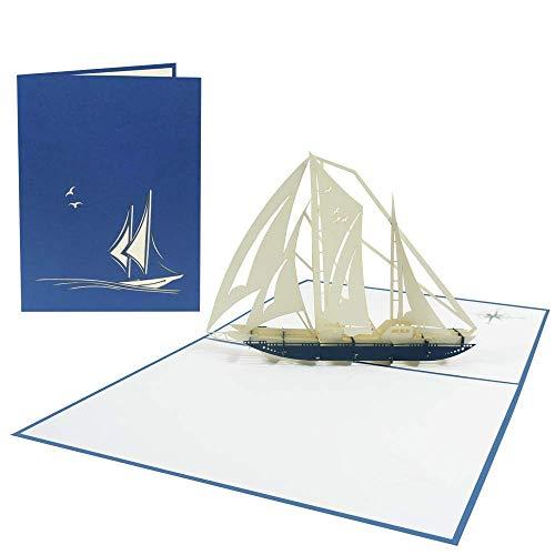 3D Pop Up Karte Schiff Segelschiff Segeln Yacht Boot Geburtstagskarte Glückwunsch Geburtstag Seemann Reisegutschein Schiffsreisen Seereisen Seefahrt Maritim Kapitän (Segelschiff 167)