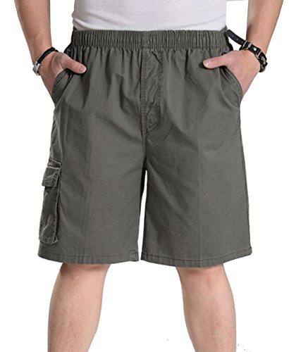 YangguTown YGT Mens Loose Cotton Cargo Shorts Overall Elastic Waist Twill Pants Army Green