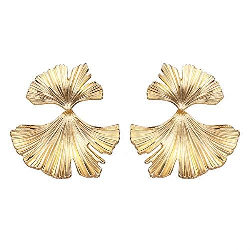 Abalorios de hojas, pendientes de metal dorado para boda