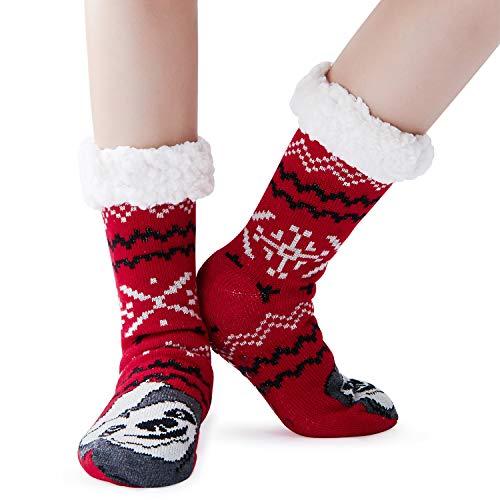 ALISISTER Unisex Kuschelsocken Rot 3D Faultier Motiv Thermal Flauschig Socken Damen Winter Stricken Weich Hausschuhsocken mit Rutschfester ABS Sohle Fleece Gefüttert