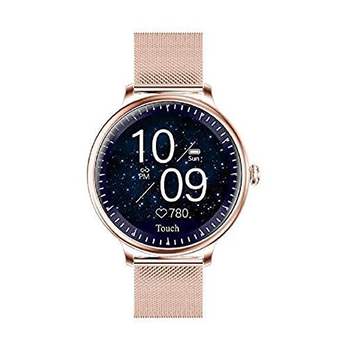 Reloj inteligente femenino de moda de pantalla redonda reloj inteligente adecuado para niñas monitor de ritmo cardíaco actividad Fitness Smart Tracker deporte fitness tracker-rosa cuero
