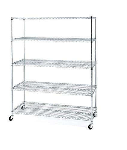 "Seville Classics UltraDurable MEGA Rack Commercial-Grade 5-Tier NSF-Certified Steel Wire Shelving with Wheels, 60"" W x 24"" D x 72"" H, Chrome"