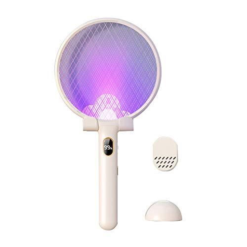 JXCAA Raqueta Matamoscas Electrica - Lámpara Antimosquitos, Potente matamoscas 2 en 1 Recargable para el hogar, Utilizado para Matar Mosquitos en Interiores y Exteriores, Blanquecino, Rosa, Azul