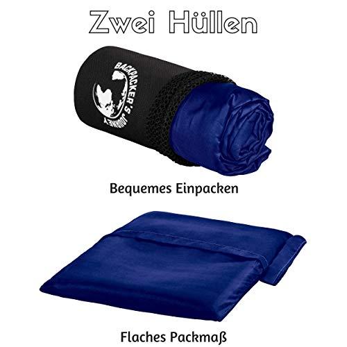 Backpackers Journey Reiseschlafsack (nur 155g), ultraleichter und platzsparender Hüttenschlafsack aus Mikrofaser (blau)