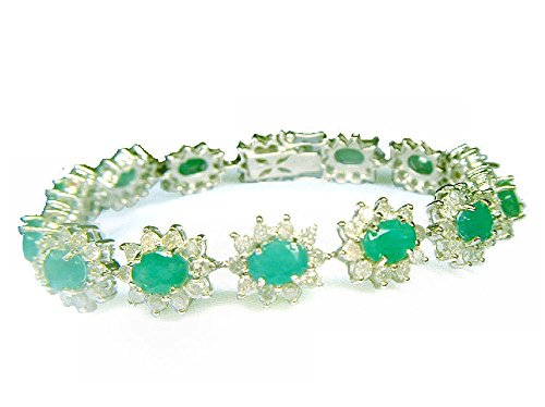 20.09ct smeraldo & diamante bracciale in oro bianco 14K