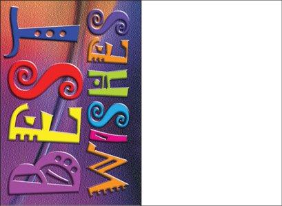 Best Wishes–Grußkarte, Jüdische Grußkarte mit Umschlag Hebräisch Englisch Text