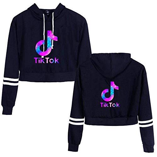 Teenager-Mädchen Fashion Katze-Ohr-Strickjacke Kurzes Hoodie Sweatshirt, langärmlige Crop Top Pullover (weißes Tik Tok-Symbol auf der Brust) (Blau,XS)
