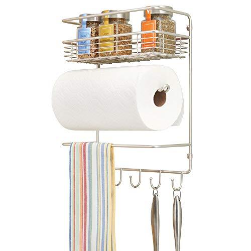 mDesign porte essuie-tout en métal – dérouleur essuie-tout mural compact avec étagère à épices intégrée – accessoire de cuisine pratique – argenté mat