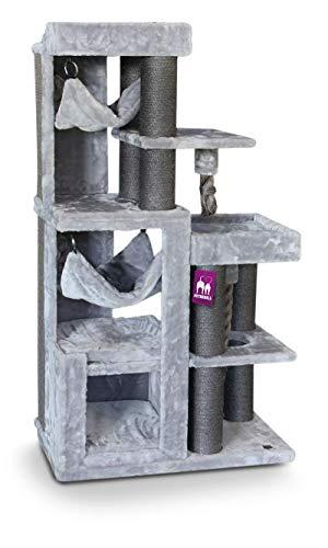 Petrebels Moderne Krabpaal voor Maine Coon en Grote Katten Avenue 134 cm Grijs met XL Sofa Hangmatten en Speeltouwen