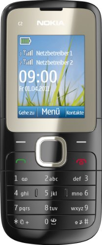 Nokia C2-00 Handy (Dual-Sim Handy, 4,6 cm (1,8 Zoll) Bildschirm, Bluetooth, MP3, E-Mail, VGA Kamera) schwarz
