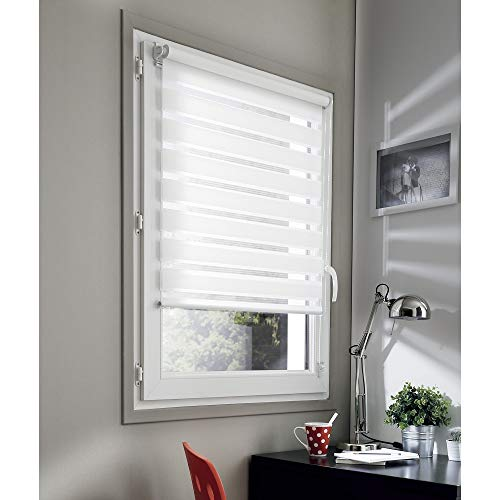 Madecostore Double Store Enrouleur Jour Nuit - Blanc - L55 x H190cm - Fixation avec ou Sans Perçage - Chaînette Coordonnée