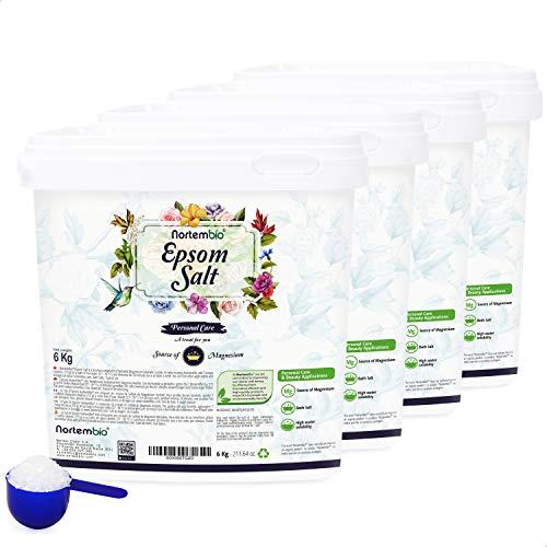 Nortembio Sal de Epsom 4x6 Kg. Fuente Concentrada de Magnesio. Sales 100% Puras. Baño y Cuidado Personal.