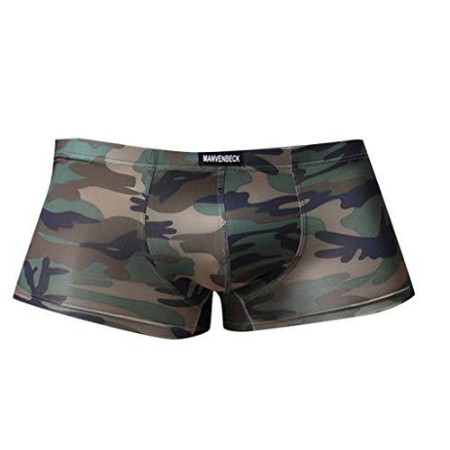 Vêtements Sexy Slip Hommes - Men Splice Shorts Boxeurs Slip Confortable Respirable Bulge Pouch Soft Slip des MéMoires MâLe éLéGant ÉLasticité éLevéE Pantalon de Pyjama Slip Homme Sport