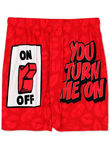 Briefly Stated You Turn Me On Men's Boxer Shorts (Medium, Red)
