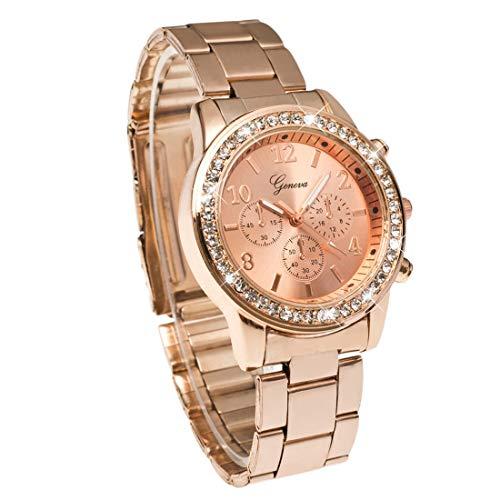Atractivo Geneva Bling Crystal Women Unisex Reloj de Pulsera de Cuarzo de Acero Inoxidable analógico-Digital para Regalo