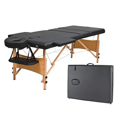 COSTWAY Massageliege klappbar, Massagetisch höhenverstellbar, Massagebett mit Rückenlehne, Kosmetik 3-Zonen-Bett tragbar, Salontisch mit Laken und Nakenrolle (schwarz)