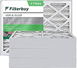 FilterBuy 24x25x4 Air Filter MERV 8, Pleated HVAC AC Furnace Filters (4-Pack, Silver)