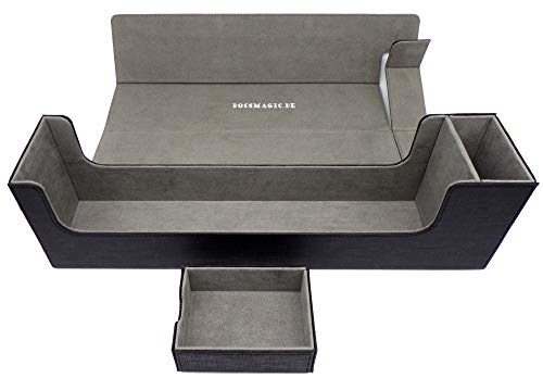 docsmagic.de Premium Magnetic Tray Long Box Black Large - Card Deck Storage - Kartenbox Aufbewahrung Transport Schwarz