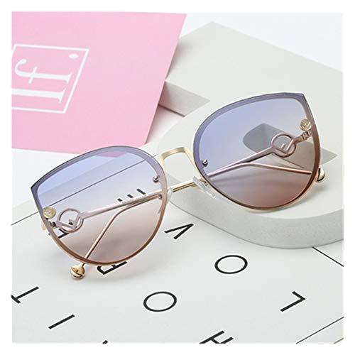 LDH Fashion Big Frame Gafas De Sol, Gafas De Sol De Dama De Metal Gafas De Sol Vintage Rimless Gradiente Gafas De Sol para Mujer UV400 (Color : F)