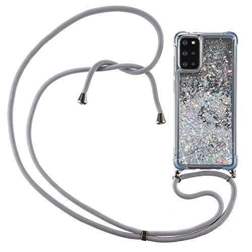 HülleLover Handykette Handyhülle für Samsung Galaxy S20 Plus, Glitzer Flüssig Bewegende Treibsand Transparent Silikon Hülle mit Kordel zum Umhängen Necklace Phone Hülle Band für Samsung S20+, Argent