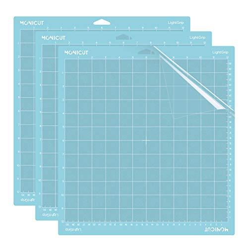 Monicut 12x12 Lightgrip Cutting Mat for Cricut Maker 3/Maker/Explore 3/Air 2/Air/One, 3 Pcs Non-Slip Flexible Blue Cutting Mats for Crafts, Quilting, Sewing and all Arts