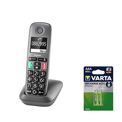 Gigaset Easy - DECT-Telefon schnurlos - inkl. DECT Phone AAA Akkus T398 - Senioren-Telefon für Router - Fritzbox, Speedport kompatibel - hörgerätekompatibel, anthrazit-grau