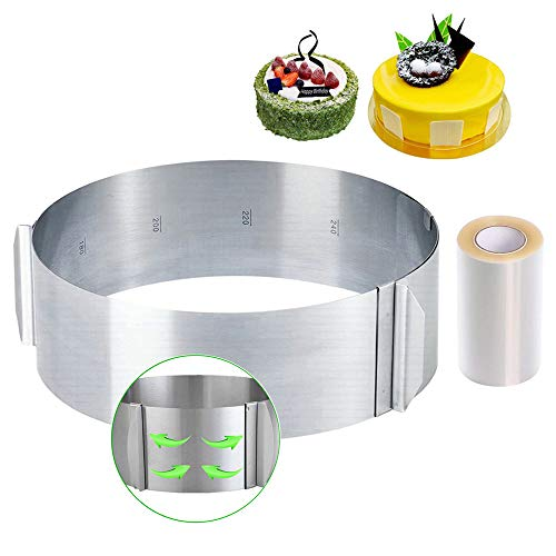 Cercle à Gâteaux Réglable avec Echelle Ø 16-30cm Cercle à Pâtisserie Extensible en Acier Inoxydable Moule Cadre Rond pour Mousse Dessert Pâtisserie, Hauteur 8cm