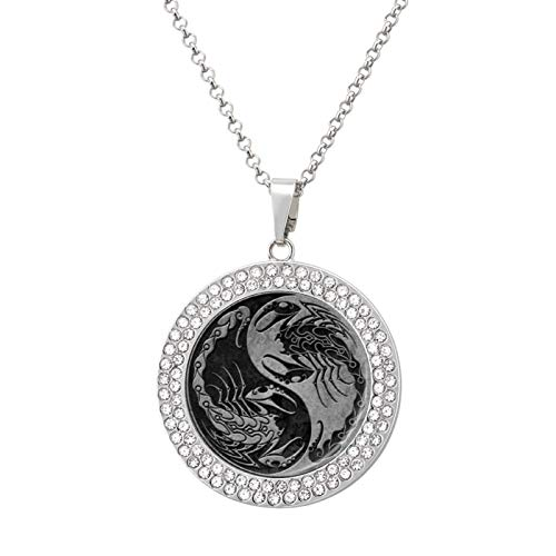 Pendant Necklace Dark Stone Yin Yang Scorpions Pendant Necklace Hip Hop Jewelry Memorial Gift For Women And Men Christmas Gift, Silver