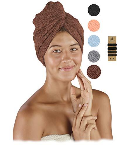 pamuq® Haarturban schnelltrocknend 100% Baumwolle | 2er Set | mit 2 Knöpfe | inkl. 4X Haargummis | Dry-Ban Haartrockentuch Turban Handtuch Haarhandtuch Handtuch...