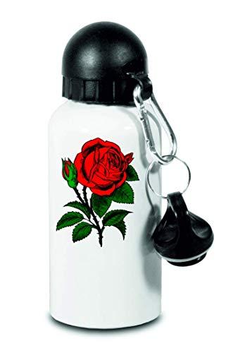 Druckerlebnis24 Trinkflasche - Rose Blume Rot Liebe - Für Kinder, Schule, Sport, Fitness - Schlanke Wasserflasche aus Aluminium