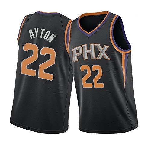 Sols sin Mangas Jersey 22# Aiton Basketball Jersey, Chaleco Bordado de poliéster, Suave, cómodo y de Secado rápido Black-M