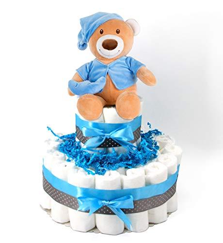 Premium Marken-Windeltorte für Jungen mit Spieluhr & gratis Grußkarte, perfekt geeignet als Geschenk zur Geburt für Babyparty