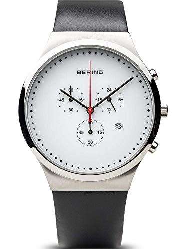 Bering Herren Chronograph Quarz Uhr mit Leder Armband 14740-404